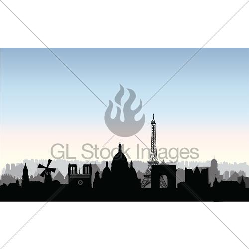 500x500 Paris City Buildings Silhouette. French Urban Landscape. Gl