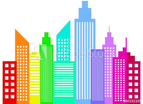 500x362 Rainbow Colored Modern City Skyscrapers Buildings Silhouettes