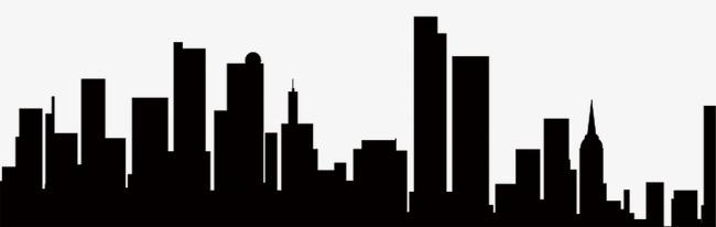 650x206 Silhouette Buildings, Buildings, Sketch, Black Png Image
