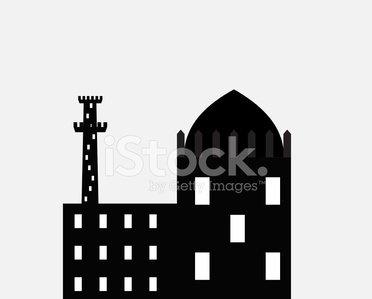 372x299 Silhouette Of Arab Buildings, Sea, Premium Clipart