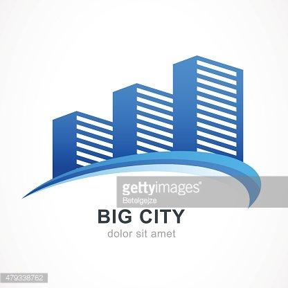 416x416 Blue City Buildings Vector Logo Design Premium Clipart