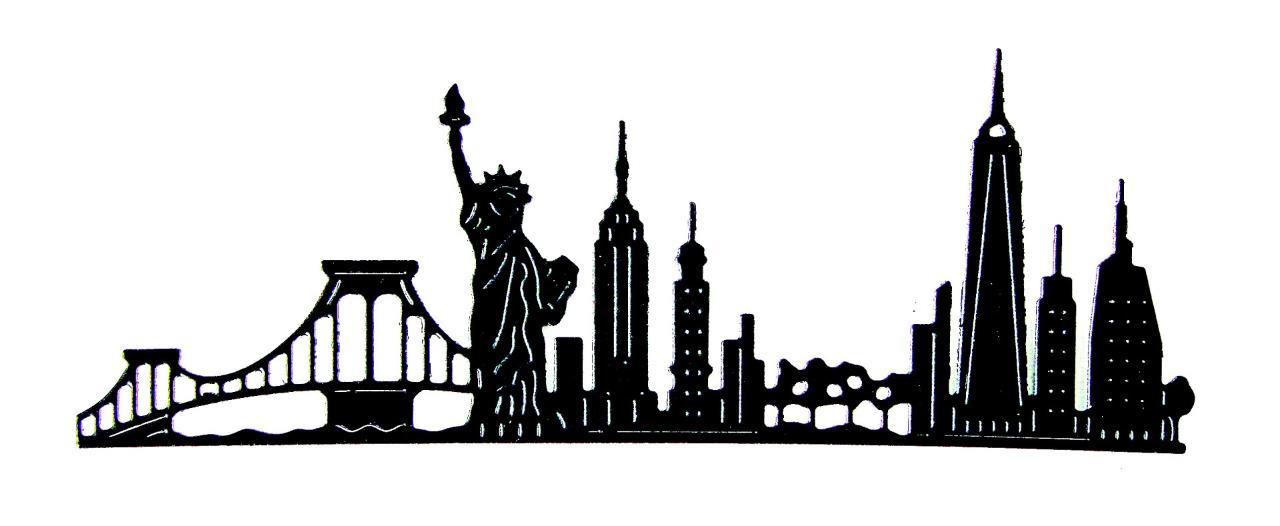 1280x526 8 Nyc, New York City Skyline Die Cuts, Landscape, Usa. Js. Any
