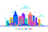 160x106 Urban Landscape In Flat Style. City Skyline Vector Illustration