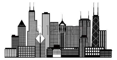 450x232 Chicago City Skyline Panorama Black Outline Silhouette Isolated