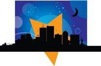 206x135 City Skyline Landscape Silhouette Vector Set, Clip Art