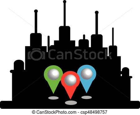 450x371 City Silhouette With Map Pins Isolated On White Background