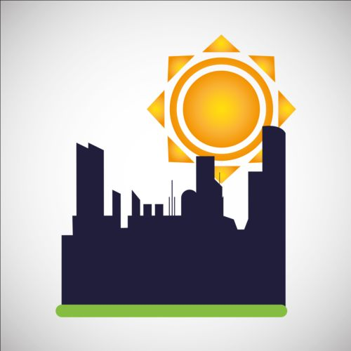 500x500 City Silhouette With Sun Background Vector 03