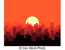 254x194 City Skyline Background. Poster Template With Urban Vector