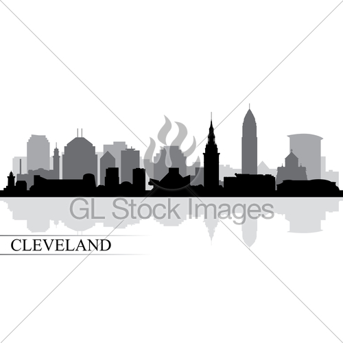 500x500 Cleveland City Skyline Silhouette Background Gl Stock Images