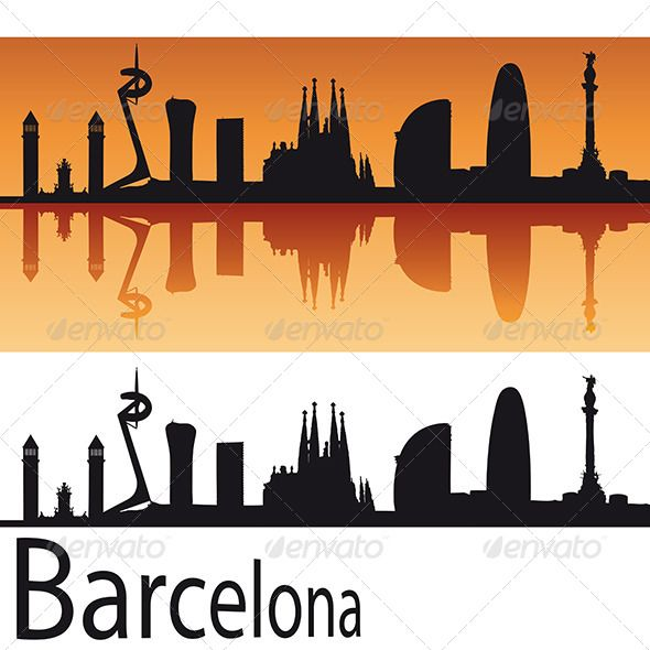 590x590 Barcelona Skyline In Orange Background Orange Background And Tattoo