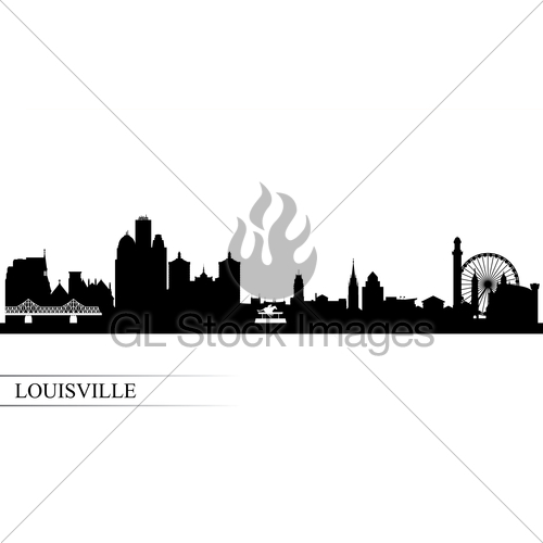 500x500 Louisville City Skyline Silhouette Background Gl Stock Images