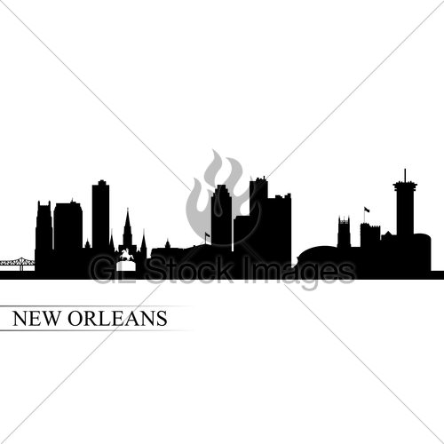 500x500 New Orleans City Skyline Silhouette Background Gl Stock Images