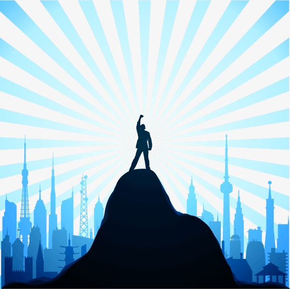 571x569 Standing Success Summit Silhouette Figures Vector Material
