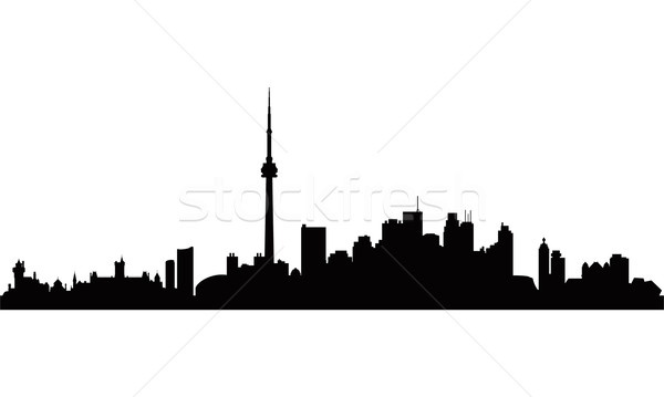 600x359 Toronto City Skyline Silhouette Background Vector Illustration