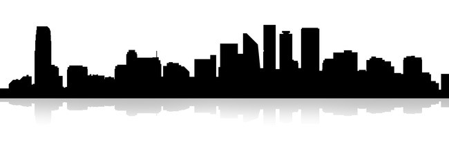 650x216 Urban Construction Silhouette Background Material, City Silhouette