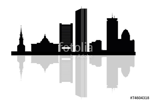500x334 Boston City Skyline Silhouette Background. Vector Illustration