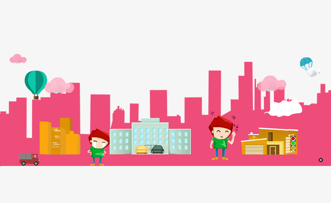 650x400 Cartoon Painted Background, Hand Painted Cartoon, City Silhouette