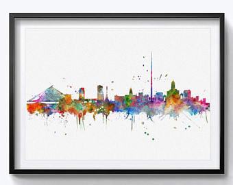 340x270 Detroit Skyline City Watercolor Art Print Detroit Wall Print