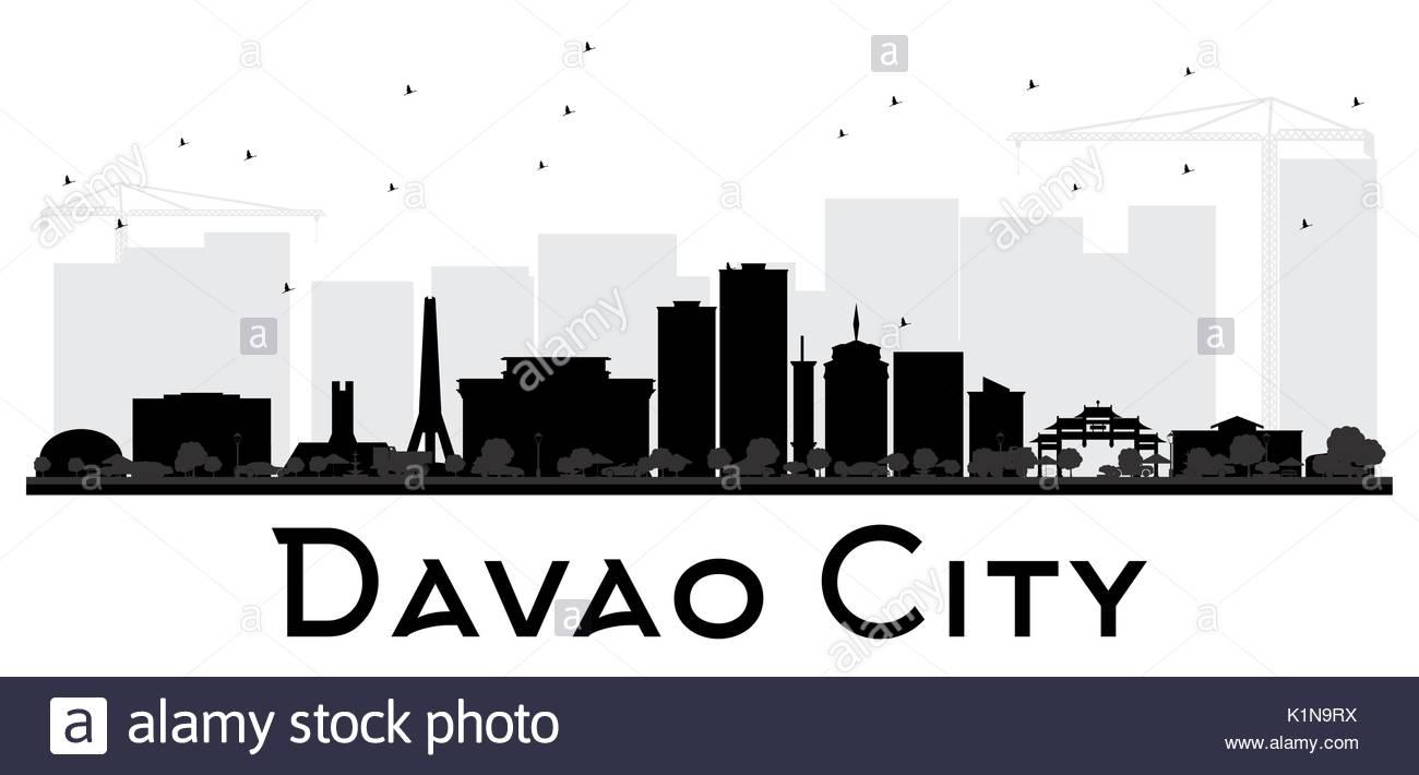 1300x710 Davao City Skyline Black And White Silhouette. Vector Illustration