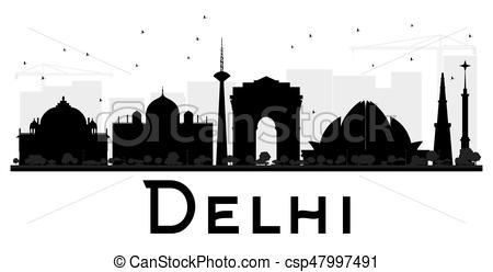 450x248 Delhi City Skyline Black And White Silhouette. Vector Eps