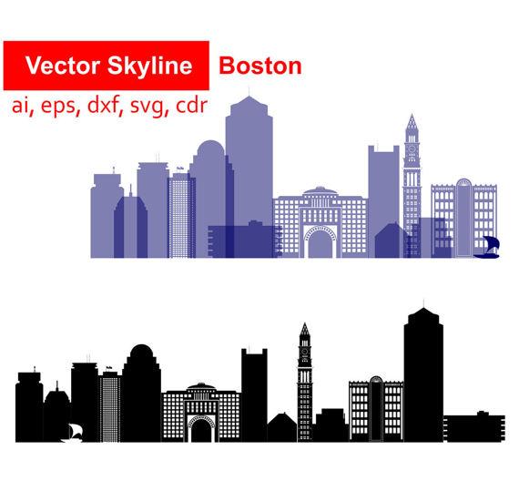 570x528 Boston City Svg, Massachusetts Vector Skyline Boston Silhouette