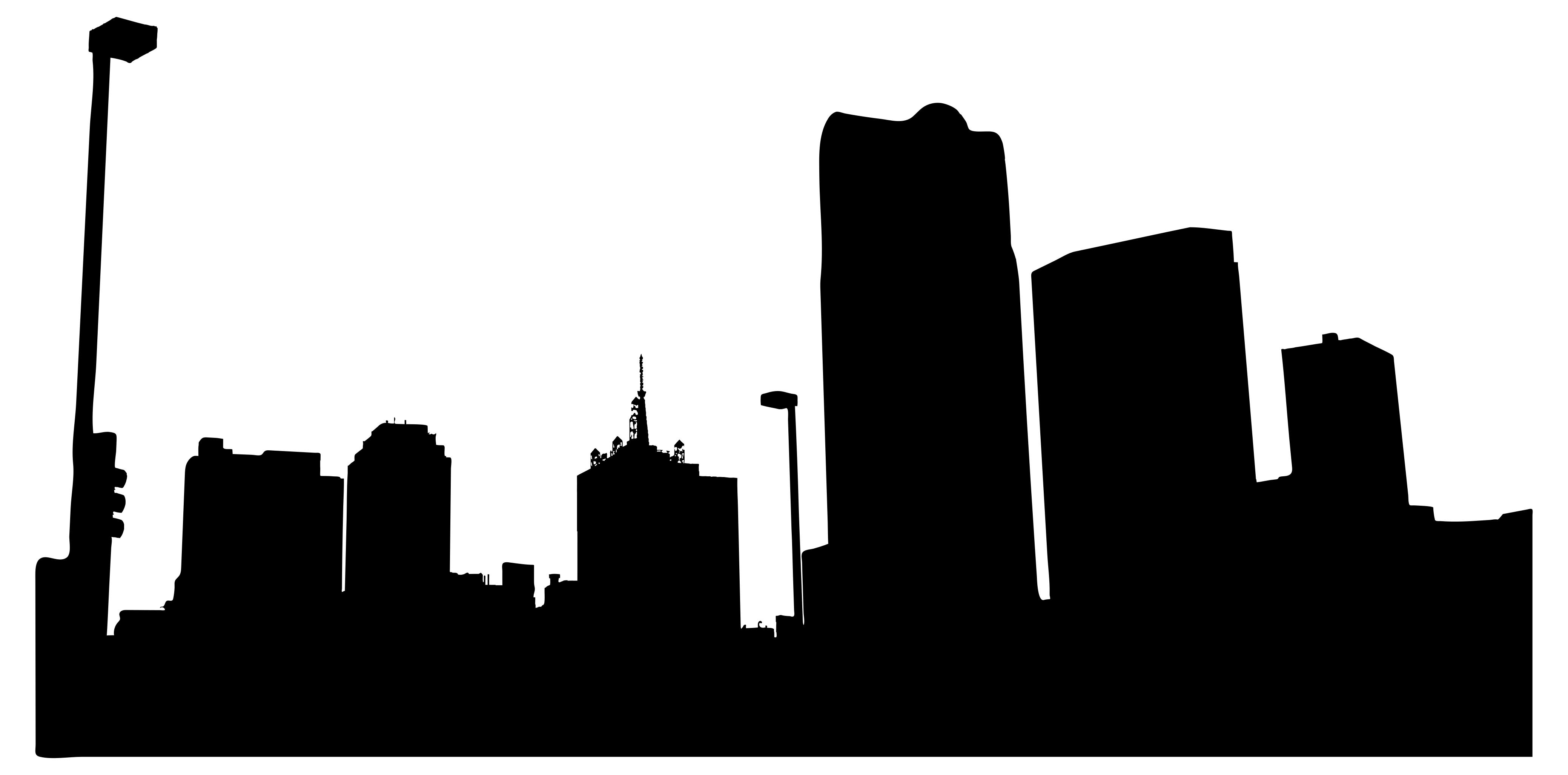 4157x2055 Urban City Silhouette Clipart