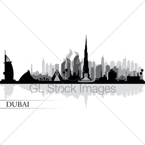500x500 Dubai City Skyline Silhouette Background Gl Stock Images