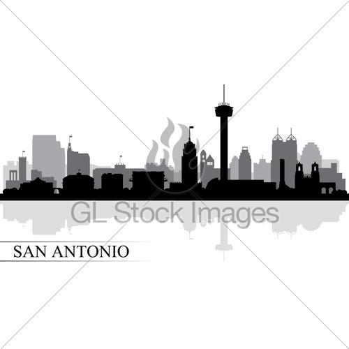 500x500 San Antonio City Skyline Silhouette Background Gl Stock Images