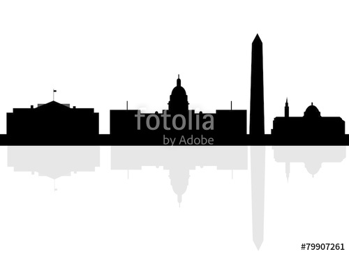 500x364 Washington Dc City Skyline Silhouette. Vector Illustration Stock