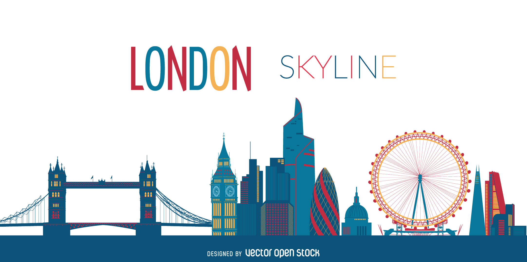 2163x1076 London Skyline Clipart Color Collection