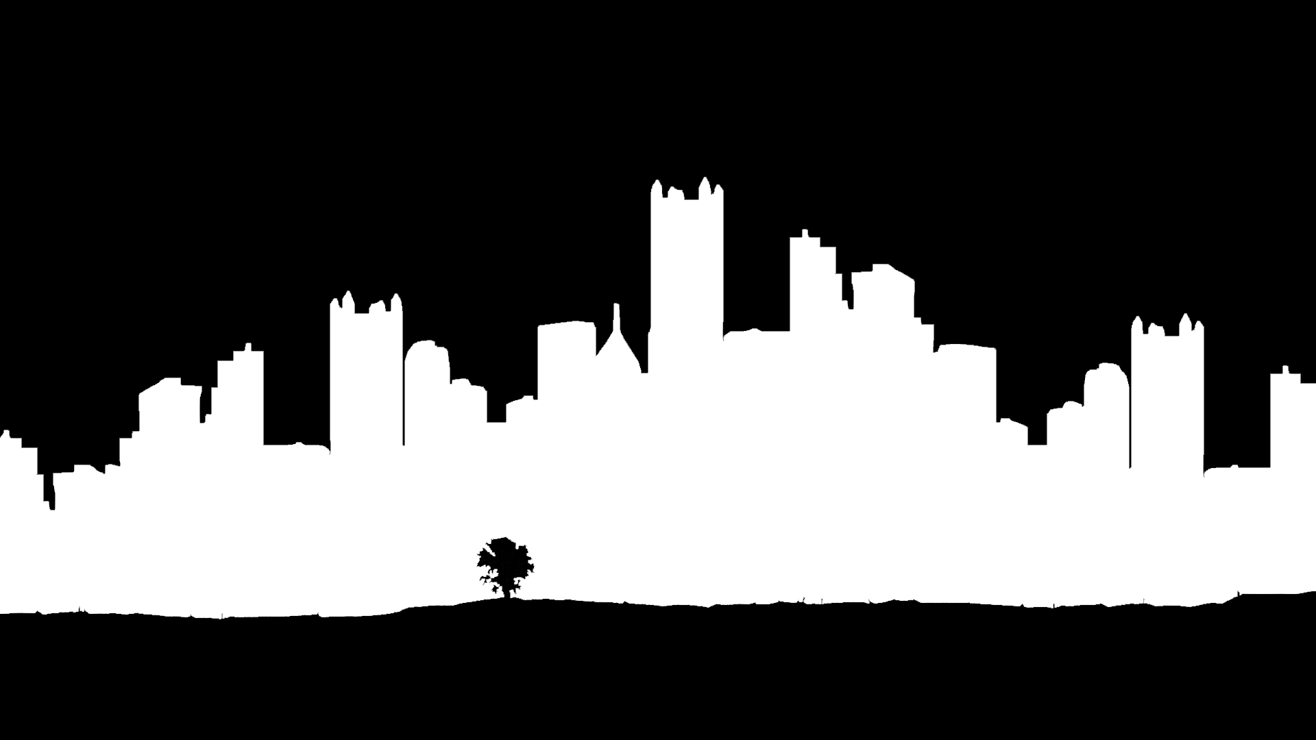 1920x1080 City Skyline Drawing Black And White