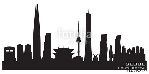 500x250 Seoul South Korea City Skyline Vector Silhouette Stock Image