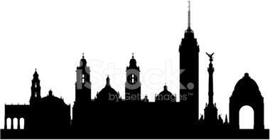380x197 Mexico City Skyline (Complete, Detailed, Moveable Buildings) Stock