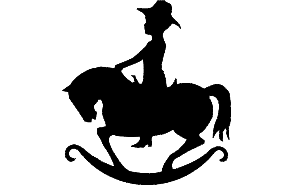 1002x633 Rocking Horse Silhouette Dxf File Free Download