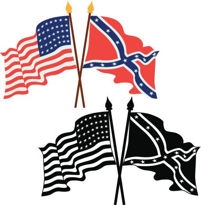 410x418 Vector Illustrations Of American Union And Confederate Flags