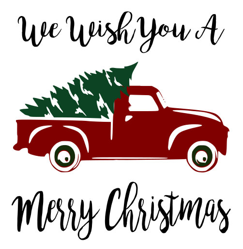 502x513 Red Truck And Christmas Tree Svg File, Quote Cut File, Silhouette