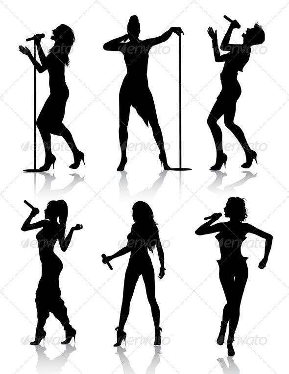 590x764 Female Singers Silhouette Set Female Singers, Silhouettes