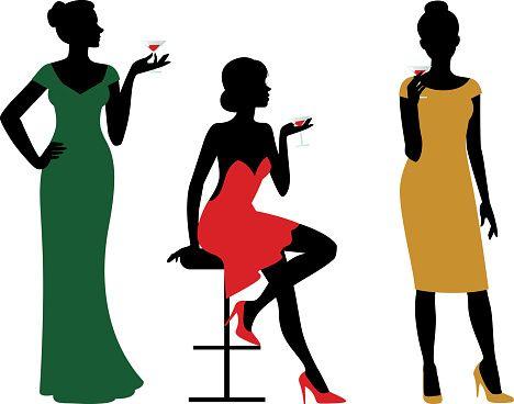 468x368 Elegant Lady Silhouette Clip Art Wine Glass