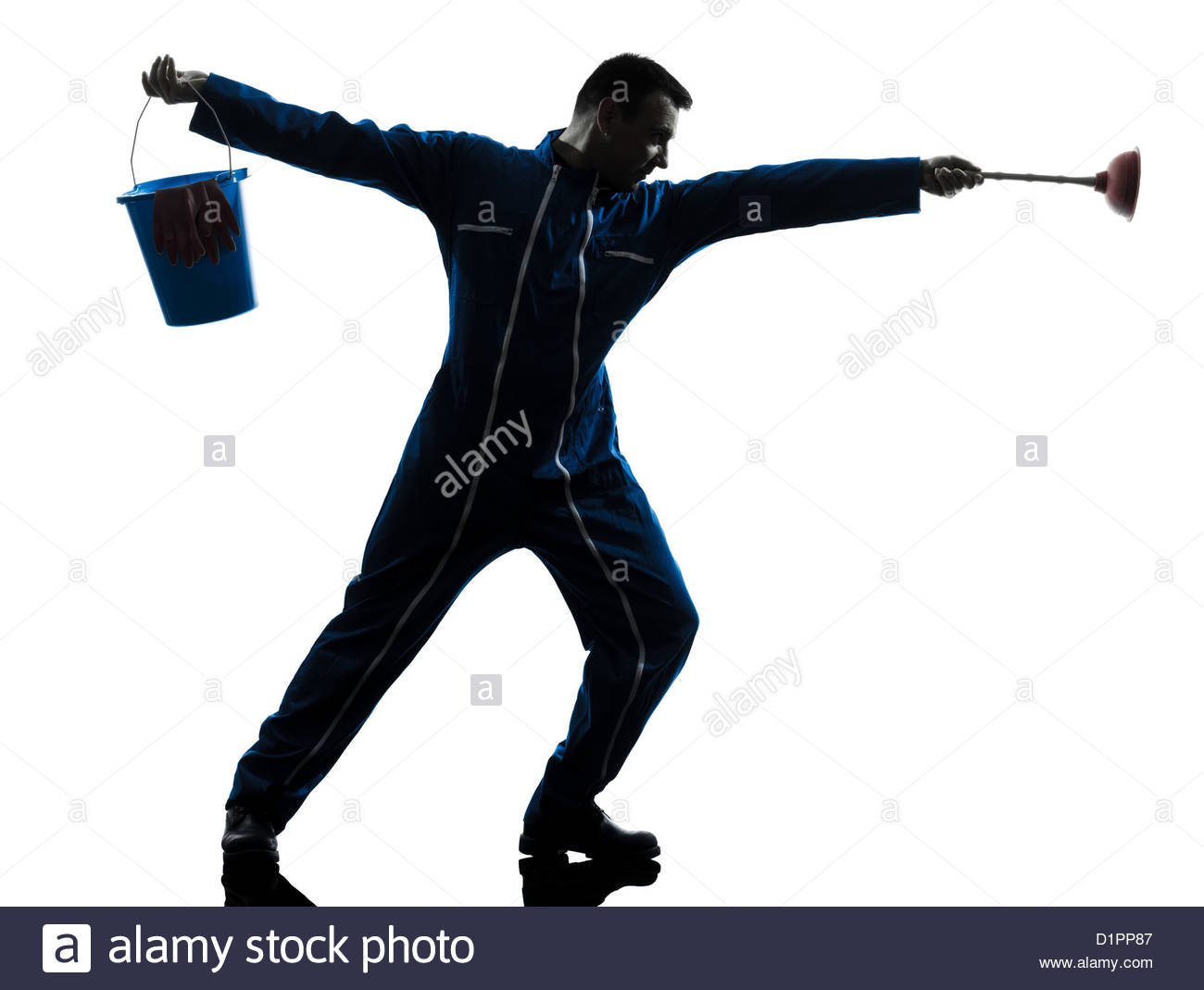 1300x1069 One Janitor Cleaner Cleaning Silhouette In Studio On White Stock