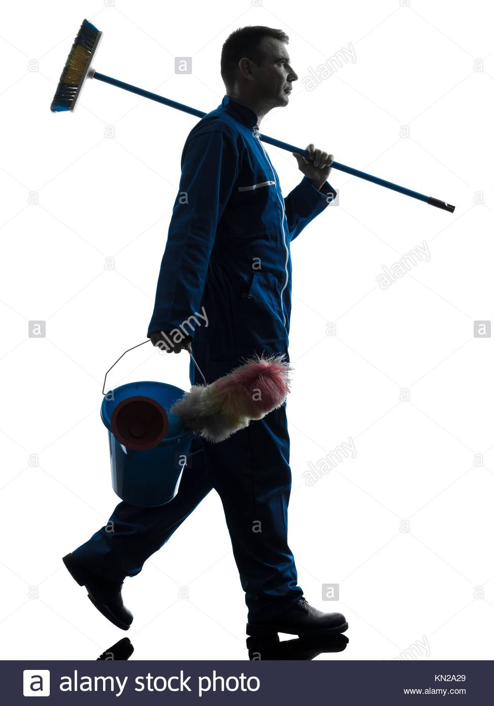 973x1390e Caucasian Janitor Cleaner Cleaning Silhouette In Studio
