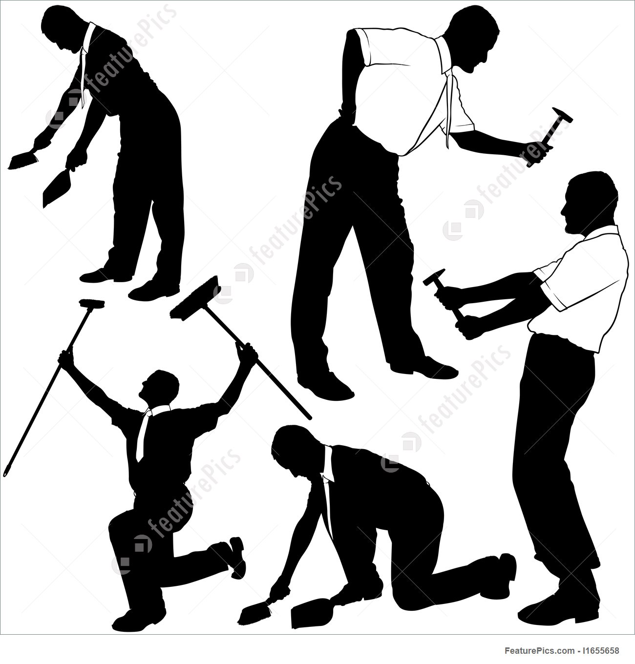 1300x1360 Business Cleaning And Repair Silhouettes Stock Illustration