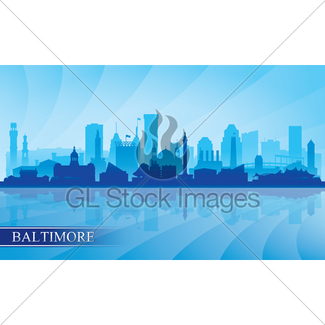 325x325 Baltimore City Skyline Silhouette In Grayscale Gl Stock Images