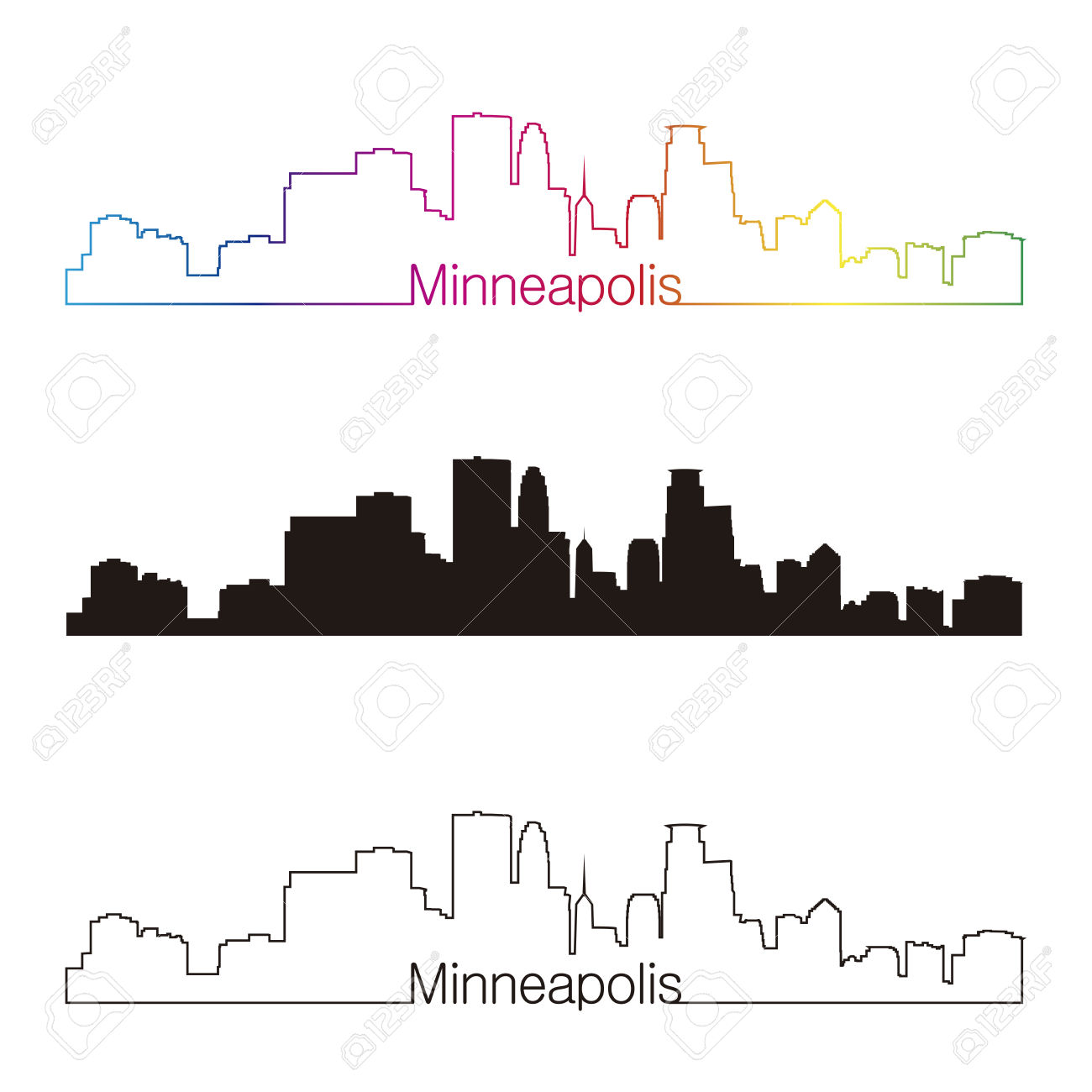 Cleveland Skyline Silhouette Outline At Getdrawings Free