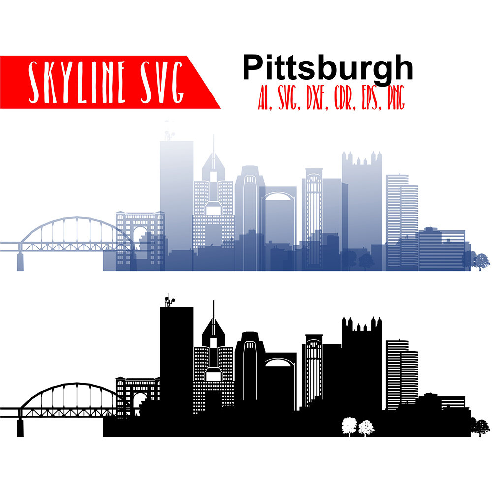 1000x1000 Pittsburgh Vector Skyline Pittsburgh Svg Pennsylvania City