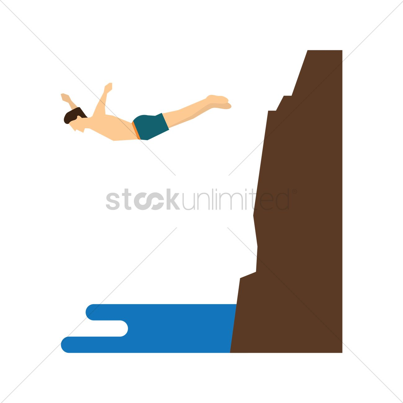 1300x1300 Cliff Diving Vector Image