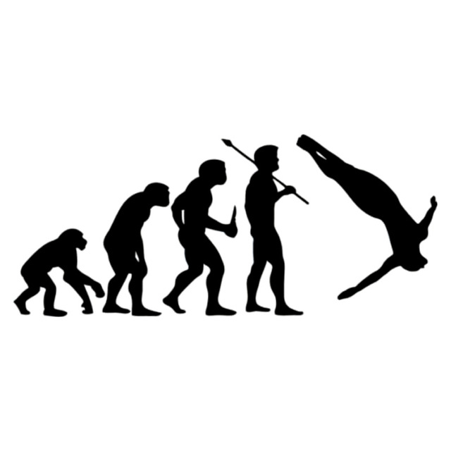 640x640 14.2cm6.1cm Cliff Diving Evolution Car Sticker Motorcycle Decal