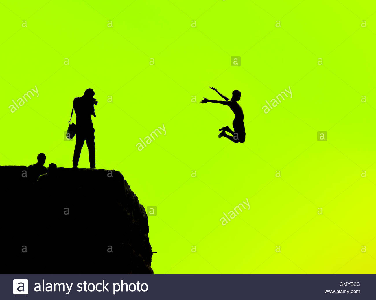 1300x1036 Silhouette Of A Man Jumping Off A Cliff On A Green Background