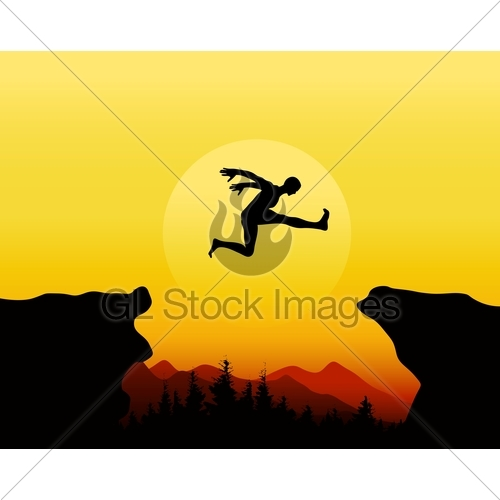 500x500 Silhouettes Of People Jumping On The Cliff At Sunset Gl Stock Images