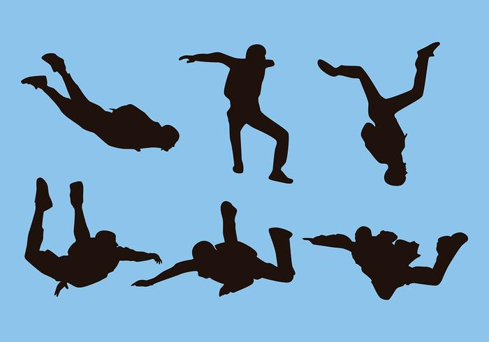 700x490 Skydiving Silhouette Free Vector