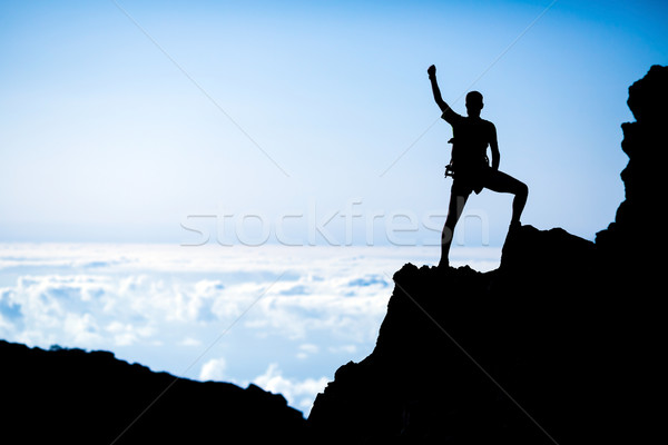 600x400 Hiking Success, Man Hiker Runner Climber In Mountains Stock Photo
